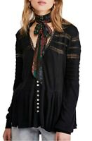 Free People Womens OB1013579 Set To Stun Top Relaxed Black Size XS