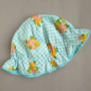 Vintage FLORAL BLUE YELLOW PEACH BABY CHILD SUN HAT 1970s | 50 cm