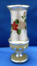Vtg Antique Victorian Silver MERCURY Glass VASE Flowers Hand Painted 1800s