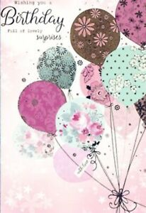 Open Female Birthday Card~Traditional~Pinks~Bronze~Balloon By Greetings~Free P&P