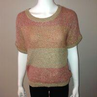 Chicos Sweater Size 1 = Medium Womens Chunky Knit Top Short Sleeve Metallic