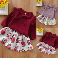 Toddler Baby Girls Winter Long Sleeve Ruffles T-Shirt Tops+Floral Skirts Outfit