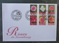 2017 LUXEMBOURG ROSES SET OF 6 STAMPS FDC FIRST DAY COVER