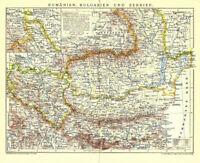Alte Landkarte: Rumänien, Bulgarien und Serbien von 1905 old map Kosovo RARE