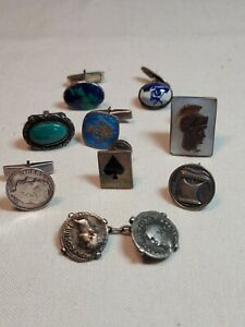 Lot of Single Sterling Silver Cufflinks Vintage Antique Cameo Turquoise Enamel