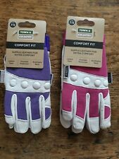 2 x Town & Country Ladies Small Gardening Gloves Comfort Fit TGL104S pink/purple