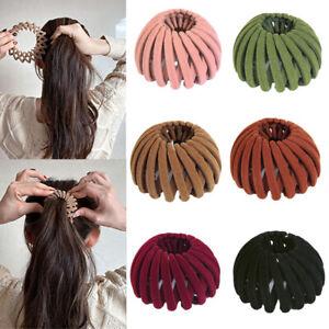 Buckle Hairpins Bird Nest Bun Maker Hair Claw Expanding Velvet Hair Claw UK