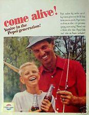 1965 Pepsi-Cola Soda-Pop Boy Dad Fishing COME ALIVE ! Promo AD