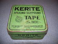 VINTAGE ADVERTISING TIN kerite splicing tape green/blac