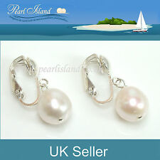 Freshwater White Baroque Pearl Clip On Earrings 10mm - Pearl Island