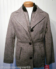 NWT Esprit Womens Wool Blend Tweed Coat L Chocolate MSRP$190