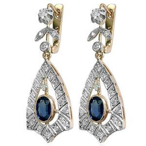 14k Rose Gold 0.70ct F-VS2 Diamond 2.0 ct Sapphire Russian Style Drop Earrings
