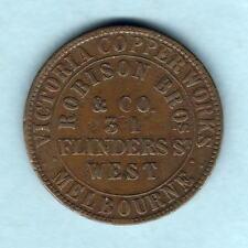 Australia Token. Robison - 1862 1d.. Melbourne Vic..  Emu .. aVF