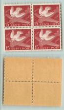 ESTONIA 1940 bird pigeon, Airmail  Airplane Mich 162 block of 4 pcs perfin