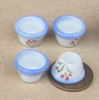 1:12 Scale 4 Blue & White Ceramic Bowls Dolls House Miniature Accessory B70