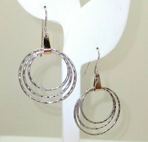 """JAMES AVERY 14K Gold 925 Silver Earrings, 2.14"""" Drop Hammered Circle Ear Wires"""