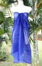 Sheer Sarong NAVY DARK BLUE Beach Coverup Hawaii Pareo Bikini Wrap Skirt Dress
