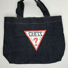 New Guess Jeans Denim Tote Bag Dark Blue Vintage Style Logo Spell Out Cotton