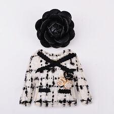 Handmade Set Of 2 Brooches Black Camellia Coat  Pin Brooch