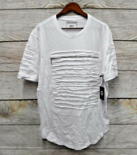 Switch Shirt Mens Size Large White Shredded Zipper Front Skinny Fit T-Shirt New