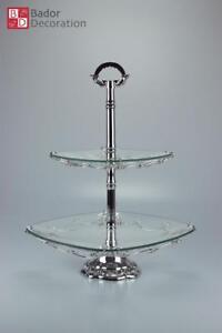 Etagere Servieretagere Deko Glas Etagere zwei Ebenen 2 Stöckig Glas Silber Neu