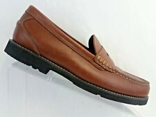 Rockport Men size 8.5 M Shakesprear Circle Brown Leather Penny Loafer Adiprene