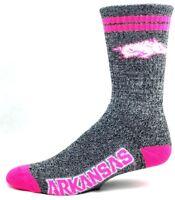 Arkansas Razorbacks NCAA Gray Marbled Crew Socks Pink Two Stripe and Logo
