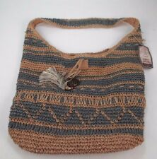 Sun 'N' Sand Large Tote Shoulder Bag Brown/Blue Natural Woven