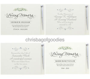 PERSONALISED GUEST BOOK for of FUNERAL Condolence In Loving Memory Bereavement