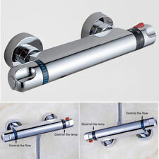 Modern Bathroom Bar Mixer Shower Valve Thermostatic Round Chrome Bottom Outlet