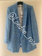 Zara Sky Blue Tweed Blazer Jacket With Rhinestones Gem Stone.  Size L