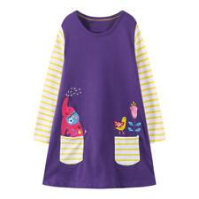 BNWT Purple & Yellow Applique Elephant, Bird & Flower Long Sleeve Dress 2-3 Yrs