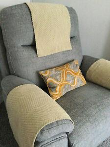 LUXURY PLUSH x1Chair Arm Back Cover Antimacassar Sofa Armchair SOFT TOUCH LATTE