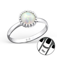 TJS 925 Sterling Silver Midi Ring Round Fire Snow Opal Antique Look US Size 3.5