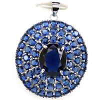 35x28mm Delicate Fine Cut 6.4g Tanzanite Bride Gift 925 Sterling Silver Pendant
