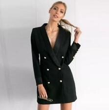 Womens Black Double Breasted Slim Fit Blazer Dress Sexy Mini Skirt Coat