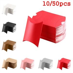 10/50Pcs Candy Boxes Pillow Shape Kraft Gift Bag Wedding Present Party Favors