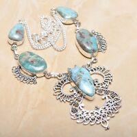 "Handmade Pale Blue Caribbean Larimar 925 Sterling Silver 18"" Necklace #N01334"