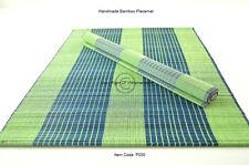 4 Handmade Bamboo Placemats Tableware Mats, Green-Dark Green, Defects, P030