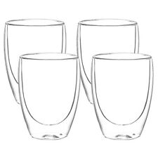 4x 310ml Doppelwandige Thermo Gläser Latte Macchiato Cappuccino Kaffee Tee Glas