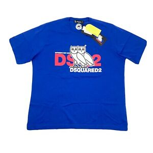 DSQUARED2 X OVO BLUE T-SHIRT OCTOBERS VERY OWN SIZE: XXL