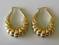 Secondhand 9ct Yellow Gold Hollow Long Hoop Earrings(Pierced Ears/Snap Shut).