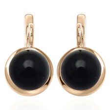 Russian Style Earrings 6.0 Gr. 14k Solid Rose Gold and 12mm Black Onyx #E1302