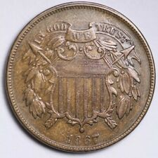 1867 Two Cent Piece CHOICE AU FREE SHIPPING E199 WEW