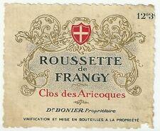 Etiquette de vin Roussette de Frangy Clos des Aricoques Eonologie wine