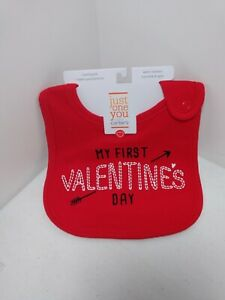 Just One You, My First Valentines Day, Bib Color Red (Free Ship)