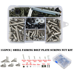155Pcs Motorcycle Shell Fairing Bolt Plate Screws Nut Stainless Steel Thread Kit
