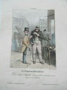 Antique Humorous French COLORED Print Showing Men Drinking in Paris, Liquor 1840