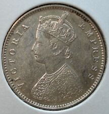"1889-B ""Raised B"" (Type II) Silver 1/2 Rupee Coin from India"