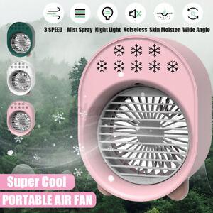 Mini Air Cooler Klimaanlage Luftkühler Befeuchter Ventilator Grün/Weiß/Pink 5V